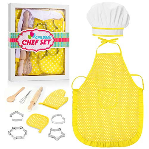 LET'S GO! Great Gifts for Girls Kids Age 3-12, Kids Chef Hat and Apron, Cooking Baking Sets Toys for Kids Girls Age 9-12, Birthday for Kids Girls Toddlers (11 PCs)