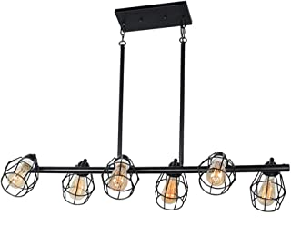 Baiwaiz Black Industrial Linear Chandelier, Metal Wire Cage Pool Table Light Retro Kitchen Island Lighting 6 Lights Edison E26 083