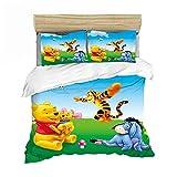 WTBDWOSH® Bettwäsche 3D 220X240 cm Cartoon Tier Braunbär Tiger Bettbezug Mikrofaser Bettwäsche...