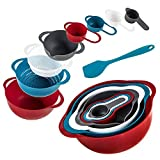 KALREDE Plastic Mixing Bowls with Spatula–8 PCS Mixing Bowl Set with Pour Spout & Handles for Baking Cooking RV-BPA Free Compact Nesting Bowls Including Measuring Cups, Colander, Sifter, Large Bowls