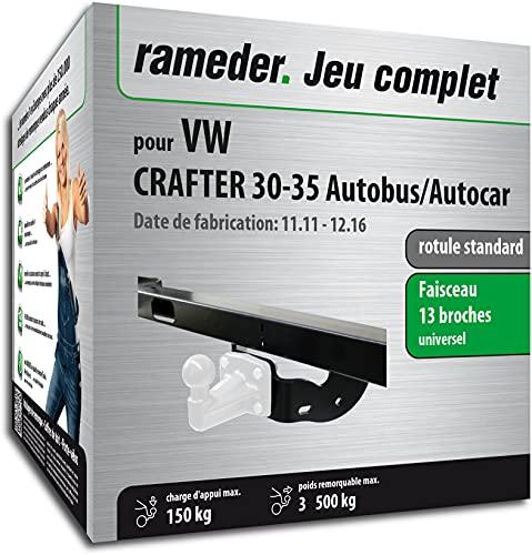 Rameder Pack, attelage rotule Standard 4 Trous livrée sans rotule + Faisceau 13 Broches Compatible avec VW Crafter 30-35 Autobus/Autocar (161519-05528-2-FR).