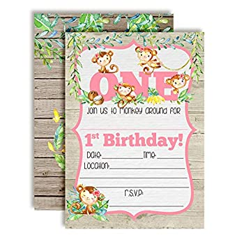 Our Little Monkey Watercolor Jungle First Birthday Party Invitations for Girls 20 5 x7  Fill in Cards with Twenty White Envelopes by AmandaCreation