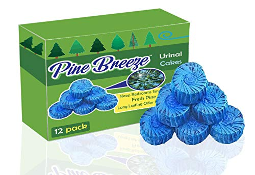 Premium Urinal Cakes 12 Pack | Individually Wrapped and Packaged for Cleanliness | Odor Killing Non-Chemical Scent | Long Lasting 500 Flushes | by Pine Breeze Janitorial Products