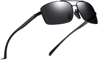 Carls Louison Polarized Rectangle Aluminium Magnesium Unisex Sunglasses (15, Black Black)