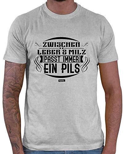 Hariz T-shirt pour homme avec inscription en allemand Entre foie et milz et inscription en allemand Pils Bier - Gris - X-Large