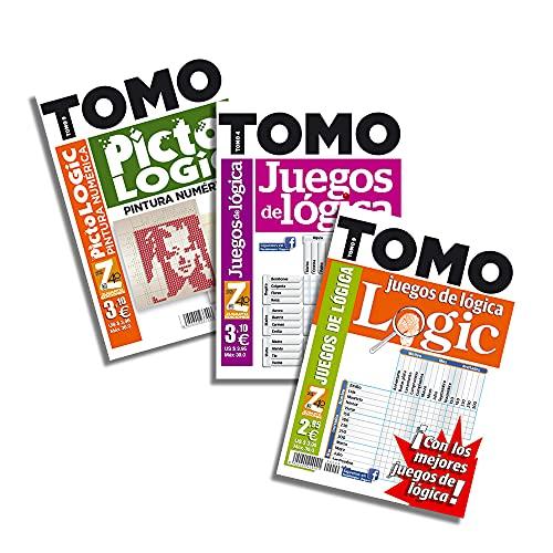 DataPrice Pack de 3 Libros de Pasatiempos de TOMO Lógica. Juegos de Lógica para Adultos Variados. - Ed. Zugarto -.