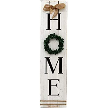 Parisloft Wooden Home Plaque with Green Wreath|Large Farmhouse Home Signs Plaque Wall Hanging Housewarming Home Decor for Mantle Living Room.