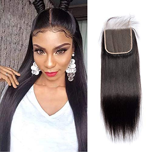 Maxine Hair 5x5 Lace Closure 10a Brazilian Virgin Hair Lace Cloure Pre-Plucked Hairline With Baby Hair Straight Wave Human Hair Closure(20 inch, Free Part )