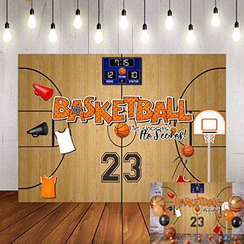 Art Studio 7x5ft Basketball Theme Photography Backdrops Basketball Sports Boy Kids Birthday Party Photo Background Star Jersey 23 Number Children Studio Booth Props Decor Banner Vinyl
