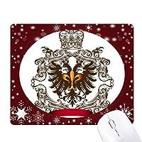 ダブルイーグルエンブレムの中世ヨーロッパの騎士 オフィス用雪ゴムマウスパッド