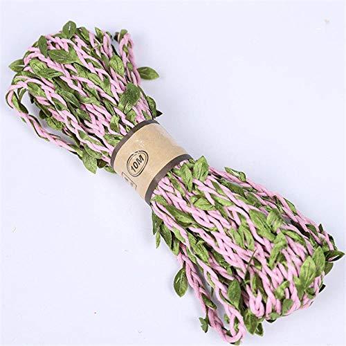 NC56 10M künstliche Rebe Blattdekoration Lebendiges Rattanblatt Vagina Gras Gefälschte Pflanzen Schnur Blätter Blätter Für Hausgarten Party Dekor PinkBig