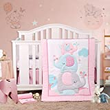 3 Piece Crib Bedding Set Gray Colorful Baby Bedding Set with Cute Pink Blue Gray Elephant and Clouds for Baby Girls