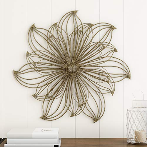 """Home Lavish Wall Decor-Metallic Layered Large Wire Flower Sculpture Modern Hanging Accent Art for Living Room, Bedroom or Kitchen, 25"""" L x 2"""" W x 25"""" H, Gold"""