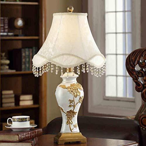 JIAHONG Lámpara de mesa de Lámparas de mesa de la personalidad simple de lujo American luces de la sala dormitorio Den tallada retro de la lámpara de cabecera, persiana Resina luz de la noche de lectu