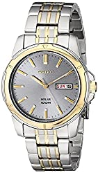 Seiko Men's SNE098 Two Tone Stainless Steel Analog with Charcoal Dial Watch