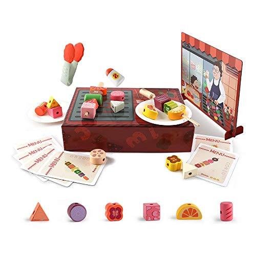 TOP BRIGHT Set da gioco per bambini, in legno, con utensili da cucina, giocattolo educativo per bambini a partire dai 3 anni
