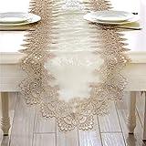 TaiXiuHome モダンレースの花刺繍屋内屋外テーブルランナーカントリーソーセージパーティーウェディングホームデコレーション 40 x 120cm