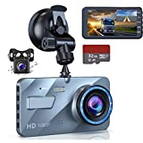 navor Dual Lens Dash Cam Front and Rear 1080P Night Vision Waterproof Backup Camera, 4' IPS LCD Vehicle DVR Recorder with 32GB SD Card