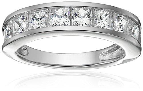 Sterling Silver Platinum-Plated Swarovski Zirconia Princess Channel Band Ring, Size 7
