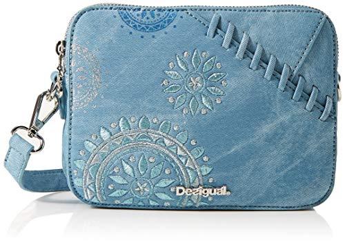 Desigual - Bag Patch Mandala Edson Women, Bolsos bandolera Mujer, Azul (Azul Palo), 8x14.5x19.5 cm (B x H T)