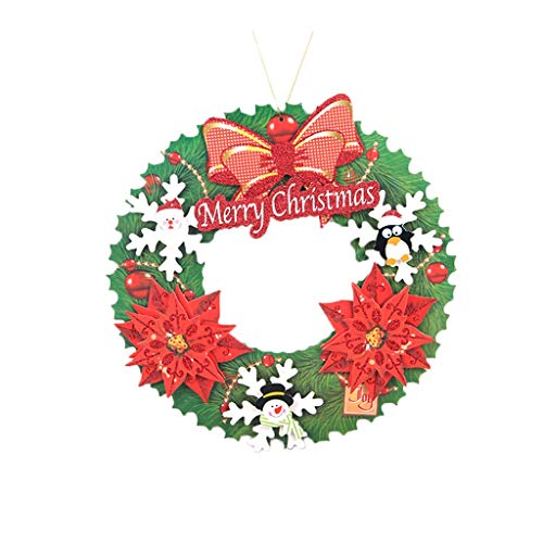 YuanYu Christmas Wreath, Christmas Decorations, Christmas Tree, Three-dimensional Paper Garland, 2 Optional Christmas utenciles (Color : A)