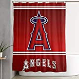 G-III Sports Los Angeles Angels Fabric Shower Curtains for Bathroom Waterproof Cloth Bath Curtain with 12 Hooks Decorative Bathroom Curtain 59 X 70 in