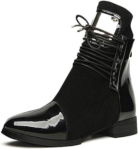 ZHRUI Stiefel de damen Stiefel de Piel Planas Martin Tobillo Tobillo (Farbe   schwarz, tamaño   4 UK)