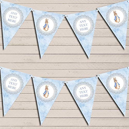 Baby Blue Peter Rabbit Banner Christening Personalised Bunting Decoration Banner Garland
