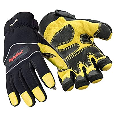 RefrigiWear Insulated Tricot Lined High Dexterity Gloves with Touch-Rite Nib for Touchscreen Capability (Gold/Black, XL)