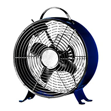 Stylish and Quiet Art Deco Retro Metal Desktop Fan with Two Speeds - by Cerebrum Shoppe (Navy Blue)
