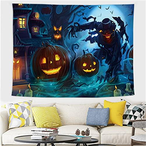 YYRAIN Tapiz Halloween, Paño para Colgar De Poliéster, Decoración De Arte De Pared para El Hogar, Pintura Colgante, Mantel Multifuncional 59x52 Inch{W150xH130cm}