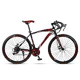 Unisexo Bicicleta de Carretera competitiva 26 Pulgadas Acero de Alto Carbono 21 Velocidad Freno de Disco Doble Estudiante Niño Cabellera Dura Ciudad del Viajero Bicicleta de Carretera,Black