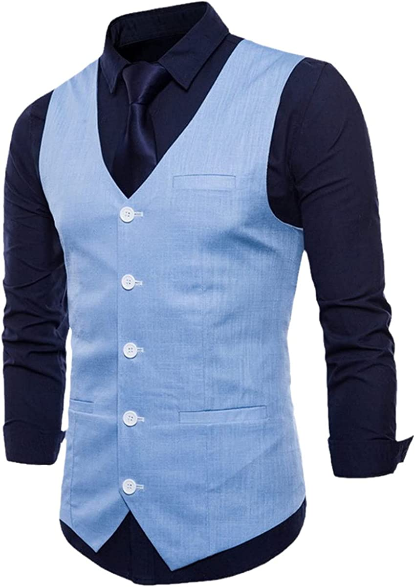 Casual cotton and linen men's suit vest Slim single-breasted sleeveless vest
