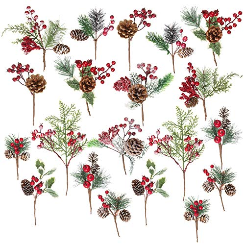 20 Pack Artificial Christmas Picks Assorted Red Berry Picks Stems Faux Pine Picks Spray with Pinecones Apples Holly Leaves for Christmas Floral Arrangement Wreath Winter Holiday Season Déco