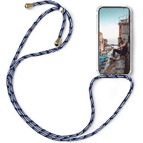 FullProtecter Handykette kompatibel mit Xiaomi Redmi S2 Band zum umhängen Kordel Handyhülle mit Kette,Necklace Silikon Hülle Umhängehülle -Schwarz weiß blau