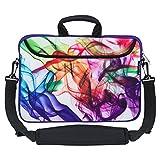 Caseling 13-13.3 inch Laptop Computer Neoprene Sleeve Carrying Case Bag with Handle, Adjustable Shoulder Strap & Extra Pocket. - Colorful