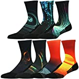 HUSO Men's Women's Youth Galaxy Painting Colorful Athletic Crew Holiday Socks Seamless Light Cushion Mid Calf Crew Socks 7 Pairs (Multicolor, L/XL)