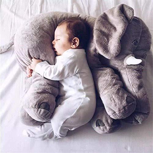 SIMGULAM 40 * 33 Cm Bebé Suave Felpa Elefante Almohada para Dormir Muñeca Calmante Juguete Cama Cintura Asiento Cojín para Niños