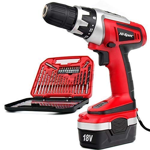 Hi-Spec 18V 1000mAh Battery Cordless Drill Driver with Speed Control, LED Light and Upto 18Nm of Torque. Includes 30 Piece Accessory Set of Drill & Driver Bits Laid in Compact Tray Case (Renewed)