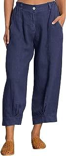 Women Plus Size Cotton Linen Zipper Button Pocket Loose Splice Cropped Trousers