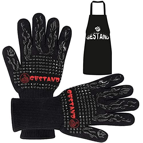 GESTAND Guantes para barbacoa con delantal, resistentes al calor, de silicona, guantes de horno, guantes de barbacoa, guantes de cocina, guantes negros
