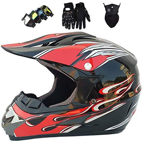 Casco de motocross, casco de MTB de cara completa, casco de protección unisex para casco de moto Casco de bicicleta de montaña (gafas + guantes + máscara)