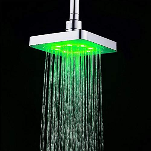 LED Lights Xueqin 3Colors LED Temperature Changing Square Rainfall Shower Head Spary Light Water Sprinkler Bathroom Wall Mounted