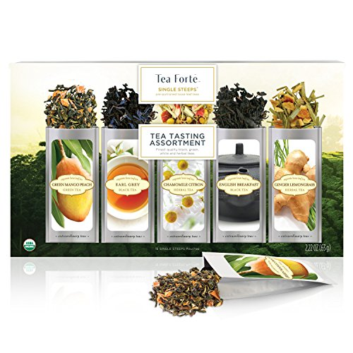 Tee-Probierbox SINGLE STEEPS von Tea Forté, gemischte Teesorten in einer Teekiste, für 15 Tassen Tee – Schwarzer Tee, Grüner Tee, Weißer Tee und Kräutertee