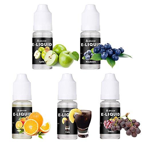 Salcar® E-Liquid 0,0mg Nikotin, 1er Pack (5x 10ml) für E-Zigarette, Apfel, Trauben, Orange, Blaubeere ,Cola
