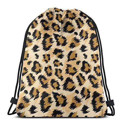 Moda leopardo impresión cordón Bapa Sapa cadena bolsa Cinch impermeable nylon playa bolsa para gimnasio compras deporte yoga