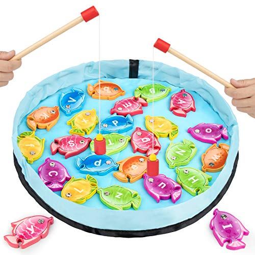 GAMENOTE Magnetic Alphabet Fishing Game for Toddlers - 26 Double Sided Wooden Fish with 2 Magnet Poles for Letter Recognition and Learning (Activity Guide Include)