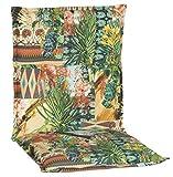Beo Gartenstuhlauflage Niedriglehner Waschbar Turin | Made in EU Premium-Qualität | UV-beständige Niedriglehner Auflagen | Atmungsaktive Stuhlauflage Niedriglehner mit Buntem Dschungelmotiv