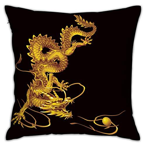 LiBei Funda de Cojín,versión Raster dragón Dorado Corriendo verticalmente,Funda de Almohada Cuadrado para Sofá Coche Cama Sillas Decoración para Hogar(45 x 45cm)