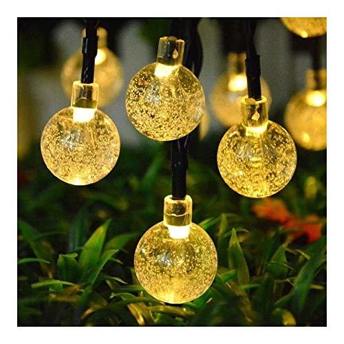 JiaQinHe Remote Solar LED Lawn Lamp 6M 30 Led Crystal Ball Solar Powered Garden Light for Outdoor Garden Landscape Christmas Decoration Lighting Control (Emitting Color : White)